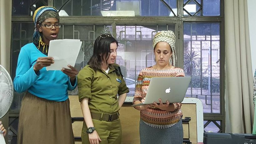 Rehearsing angels come from many walks of life. From left: Batya Israel, Chana Fixler, Sarah Covey Lopez
