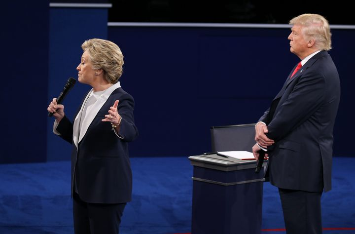 Many who viewed the debate found Trump's body language -- the leering and looming behind Clinton as she spoke -- to be remini
