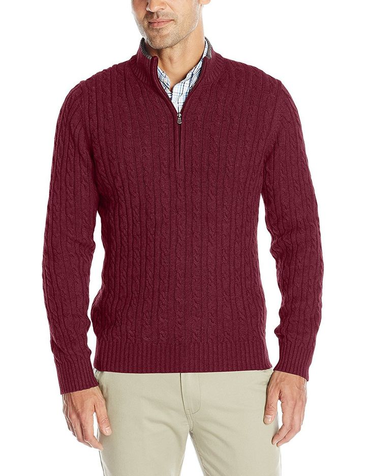 "<a href=""https://www.amazon.com/dp/B01IE4RKWY/ref=twister_B00KNQTSUY?th=1&amp;psc=1"" target=""_blank"">IZOD Men's Cable Solid 1/4 Zip Sweater, $42.99+</a>"