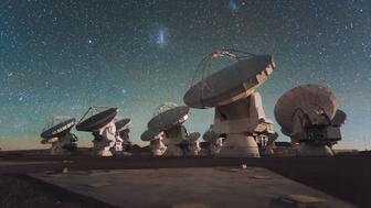 Antennas of the European Southern Observatorys Atacama Large Millimetersubmillimeter Array ALMA facility on the Chajnantor Plateau in the Chilean Andes