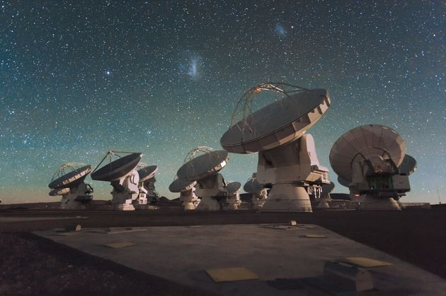 Antennas of the European Southern Observatory's Atacama Large Millimeter/submillimeter Array ALMA facility...