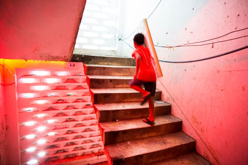 Inside the stairwell of a brothel community in Phnom Penh