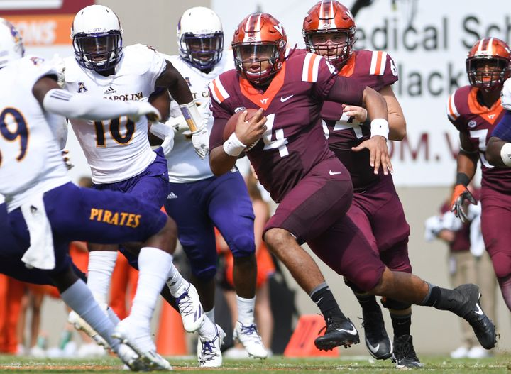 Junior college transfer quarterback Jerod Evans has 15 touchdown passes and just one interception for the surging Hokies.