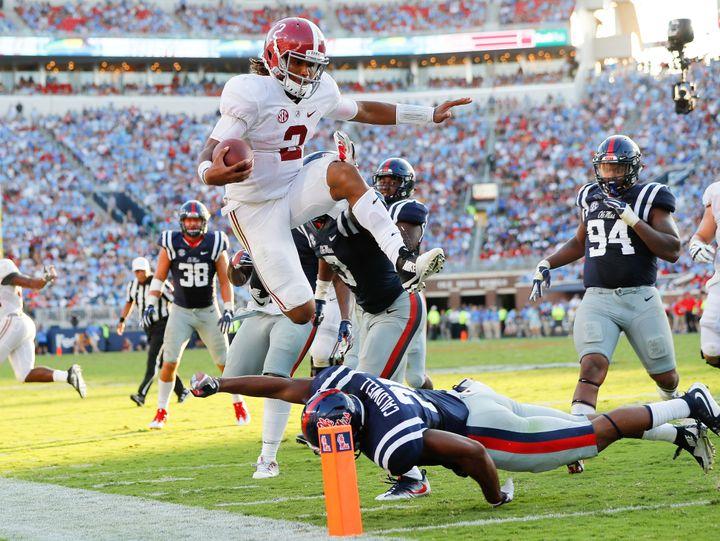 Bama's true freshman quarterback Jalen Hurts totaled four touchdowns in an impressive road win over Arkansas.