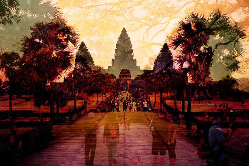 Double exposure of the Angkor Wat temple