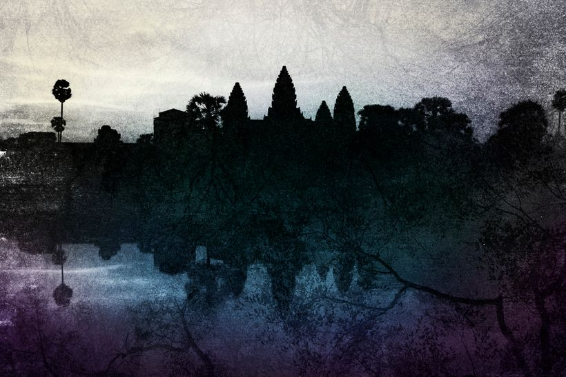Angkor Wat double exposure