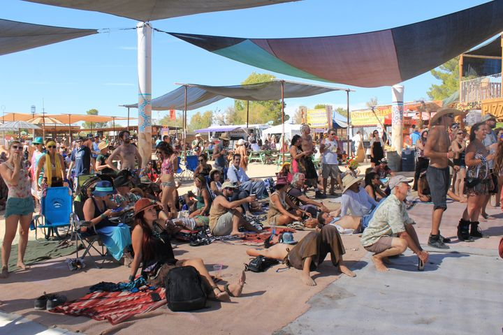 Attendees at Joshua Tree Music festival enjoying their Saturday watching NYC-based band TriBeCaStan perform.