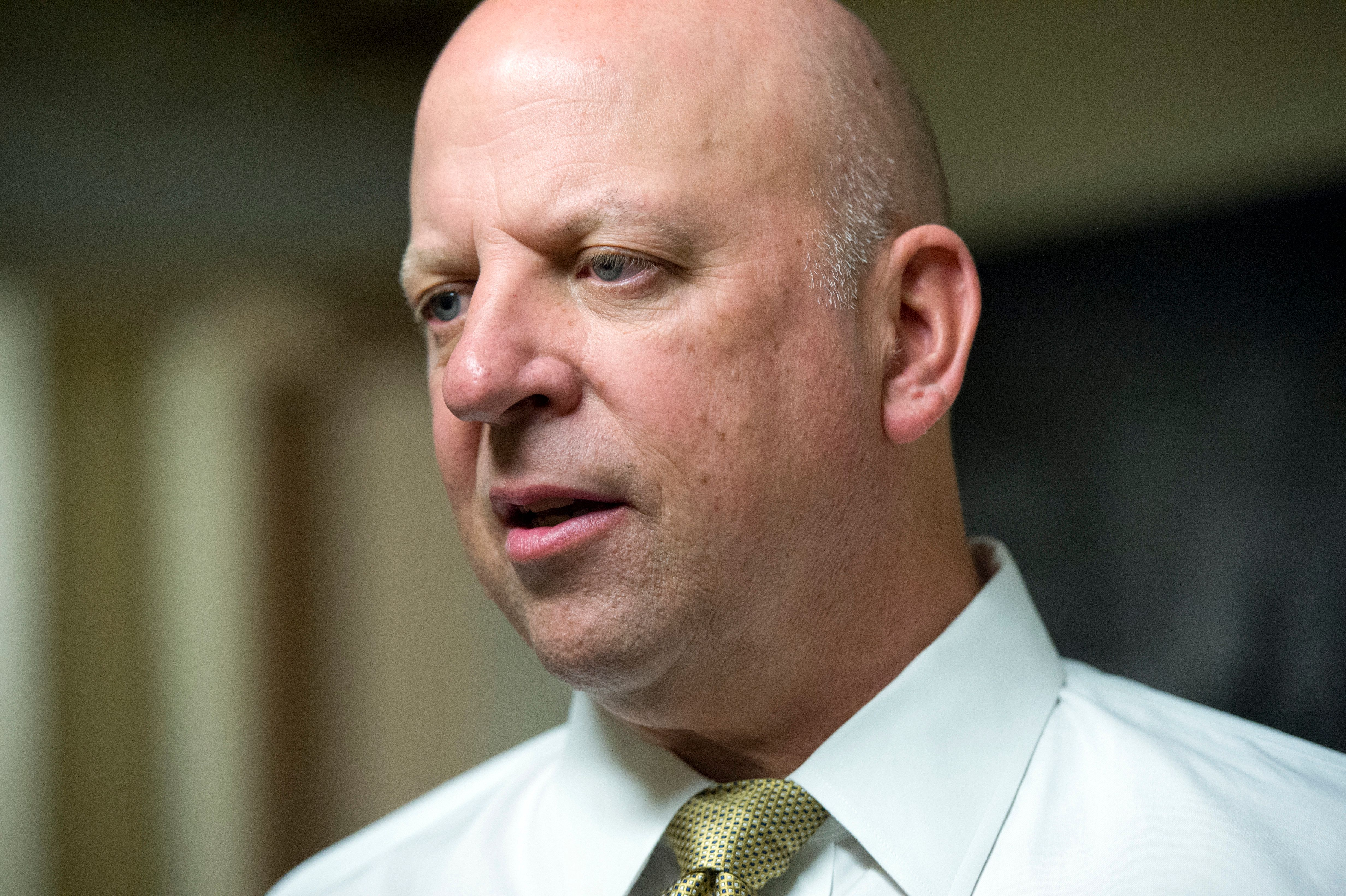 UNITED STATES - MAY 17: Rep. Scott Desjarlais, R-Tenn., talks with reporters after a meeting of the House Republican Conference in the Capitol, May 17, 2016. (Photo By Tom Williams/CQ Roll Call)