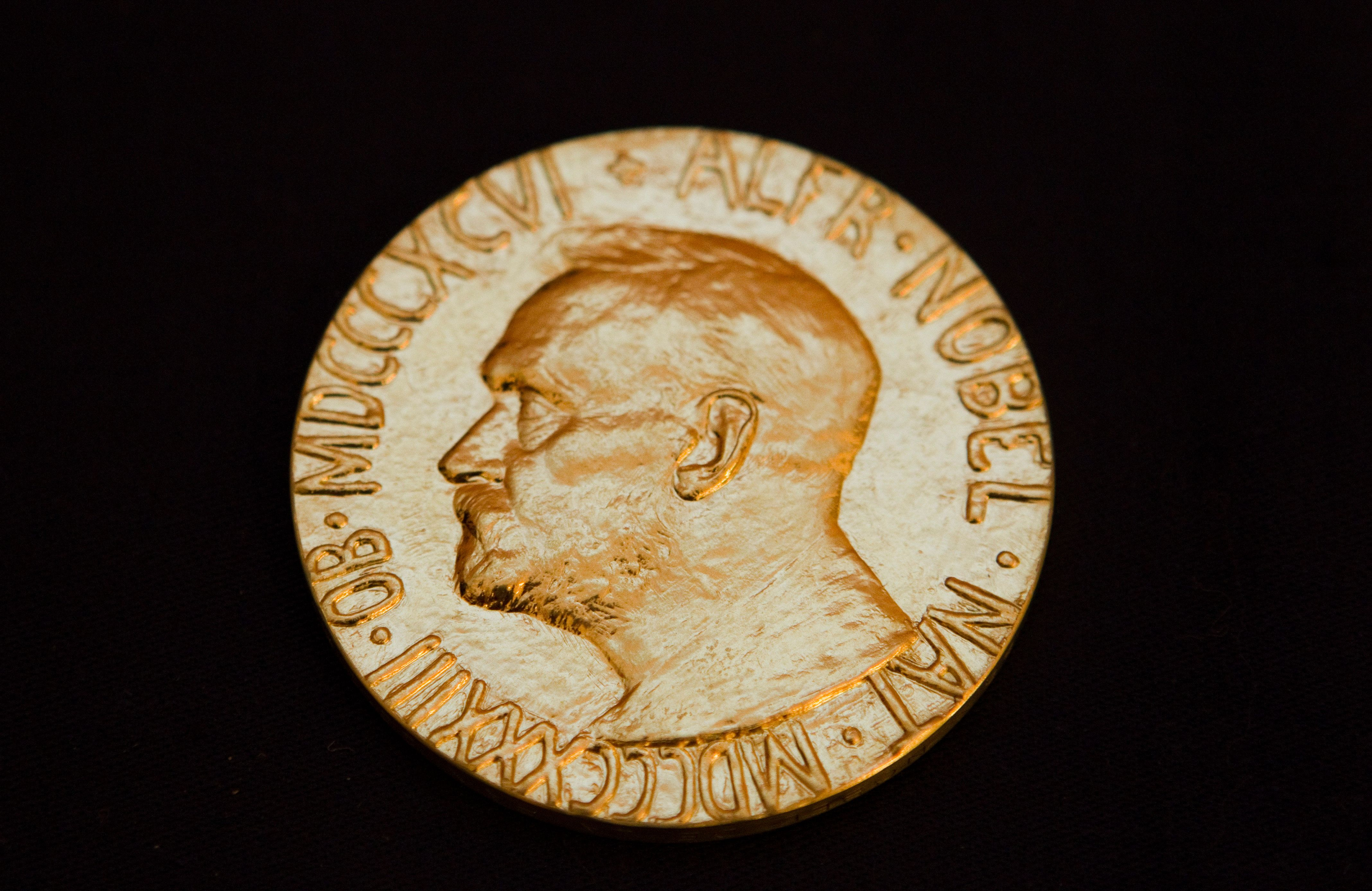 The front of the Nobel medal is seen in this picture from Dec. 8, 2010.