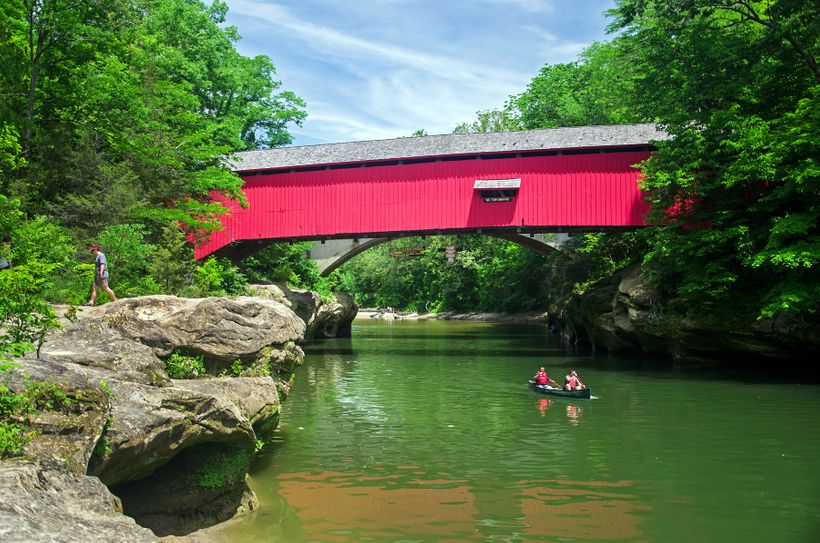 Paddling under the Narrows Covered Bridge