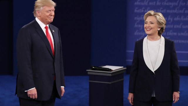 Republican Presidential Nominee Donald Trump and Democratic Presidential Nominee Hillary Clinton on stage during the second o