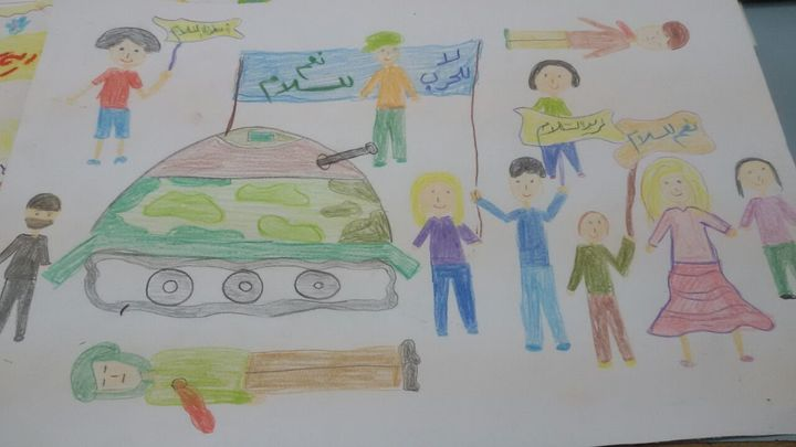 Syrian children drew pictures and wrote letterscalling for peace last week, as part of an initiative from Catholic and
