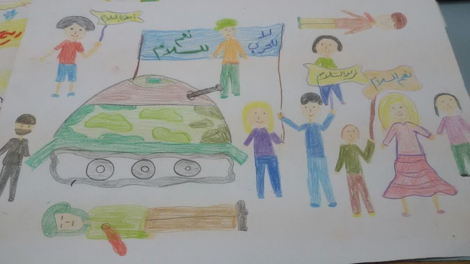 A drawing made by a child in Damascus.