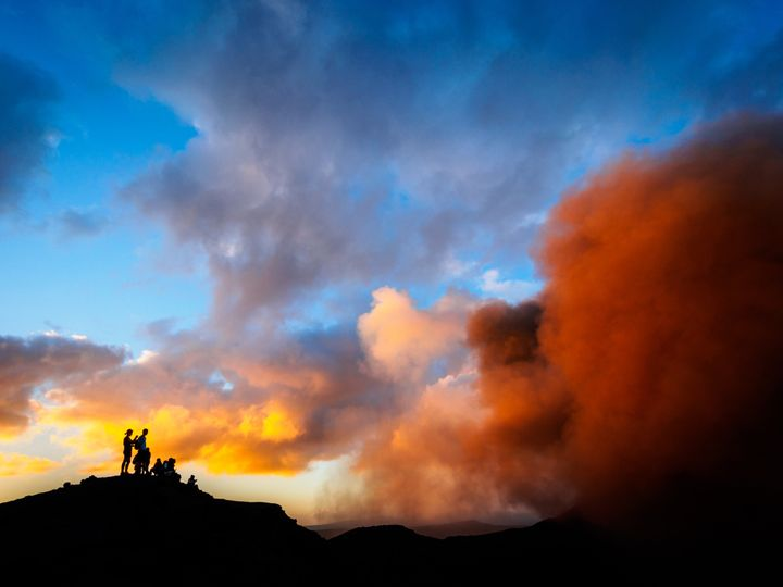 Mount Yasur volcano is continually active at a low to moderate level.