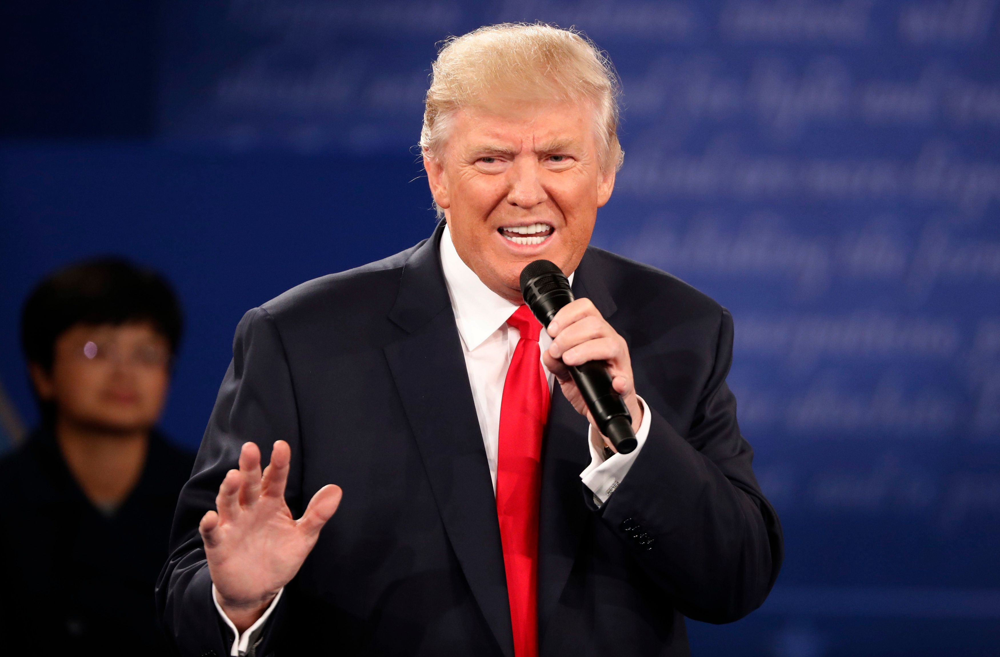 Republican U.S. presidential nominee Donald Trump speaks during the presidential town hall debate with Democratic U.S. presid