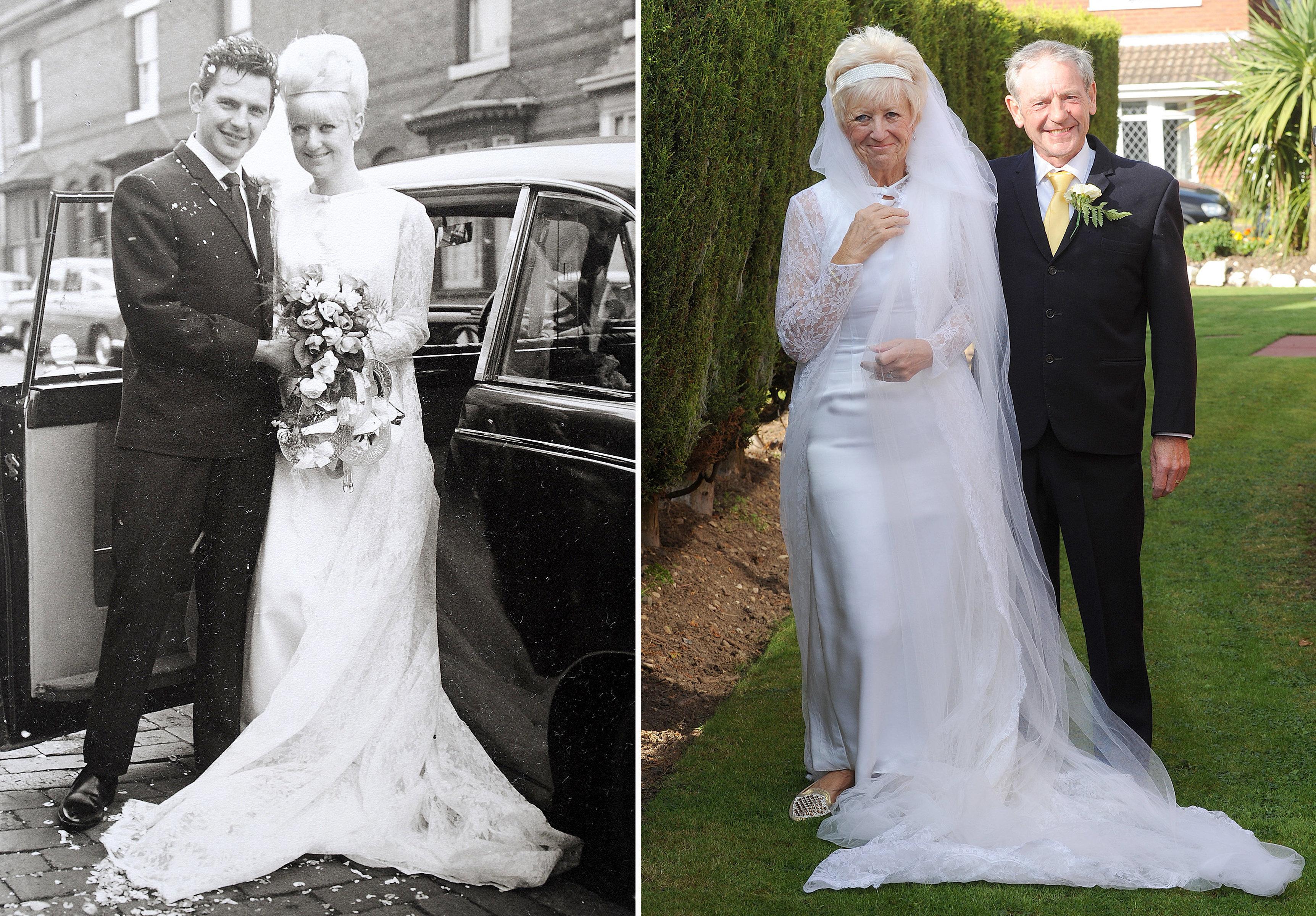 仲良しカップル、1966年に着たウェディングドレスで50回目の結婚記念日を祝う(画像集)