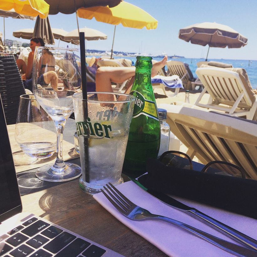 Writing at the beach in Cannes - because I could.
