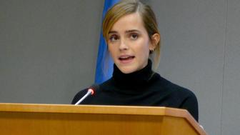 NEW YORK, USA - SEPTEMBER 20:  UN Women Goodwill Ambassador actress Emma Watson makes a speech at the launch of the HeForShe IMPACT 10x10x10 University Parity Report at the United Nations headquarters in New York City on September 20, 2016. (Photo by Selcuk Acar/Anadolu Agency/Getty Images)