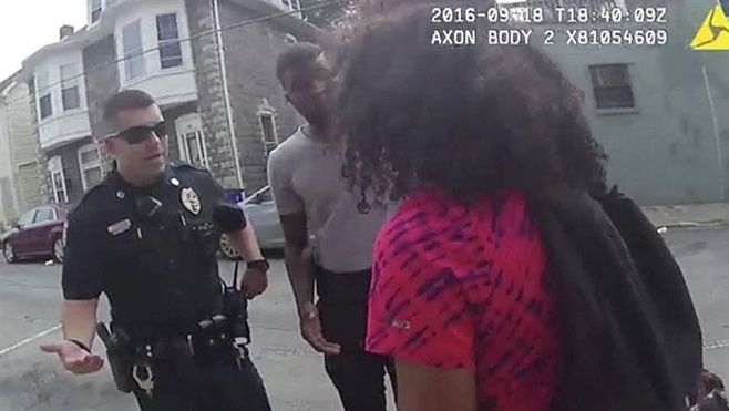 A Hagerstown, Maryland, police officer speaks with a 15-year-old girl in a video frame taken by a police body camera. States