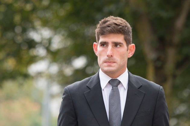 Ched Evans arriving at Cardiff Crown on 11