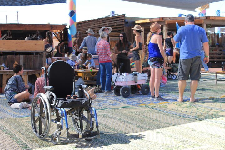A wheelchair sat in front of the Boogaloo area. There was a designated handicap camping area at the festival.