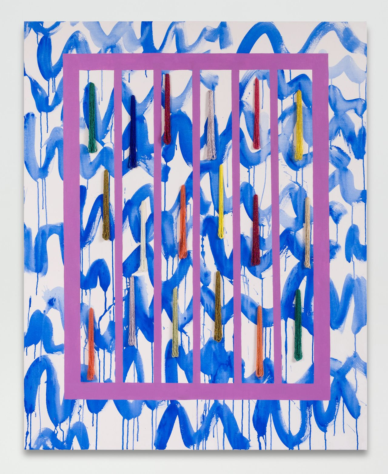 """Sarah Cain, """"waves,"""" 2016. Beads and acrylic on canvas, 60 x 48 inches."""