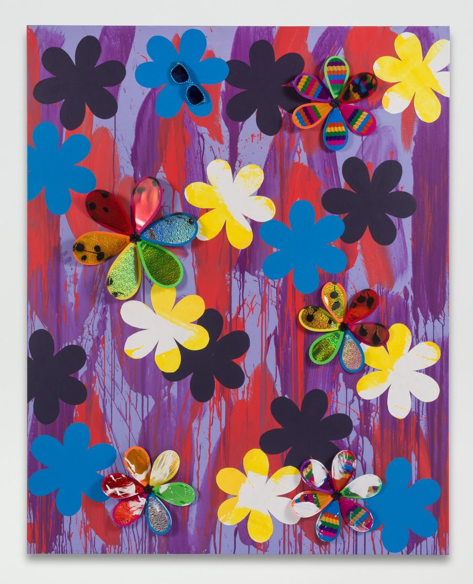 "Sarah Cain, ""Emily,"" 2016. Sunglasses, acrylic paint, canvas, and pinwheels on canvas, 60 x 48 inches."