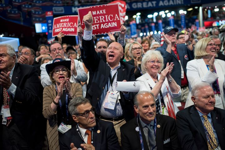 Pennsylvania delegates on the third day of the Republican National Convention in Cleveland, Ohio. Reps. Lou Barletta (R-Pa.),