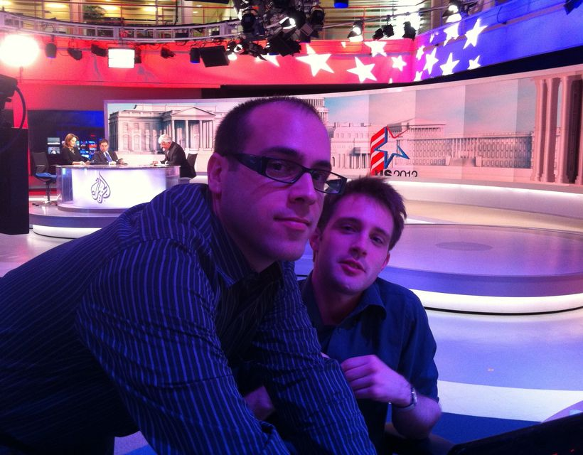 During the 2012 U.S. elections, working on the news desk as reports come in from 7-10 time zones away.