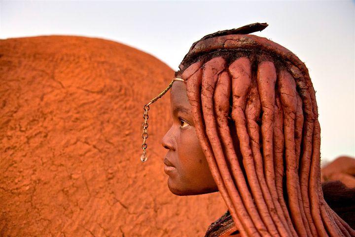 """Tajiposa during her """"moon cycle ritual."""" Himba tribe, Namibia."""