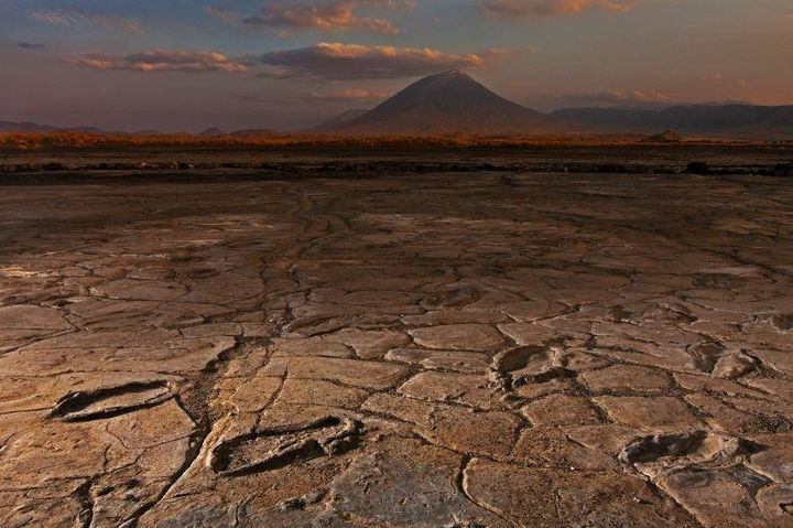 The footprints were discovered in mudflats in the shadow of the Ol Doinyo Lengai volcano in Tanzania.