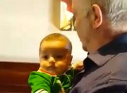 Tough Guy Grandpa Just Can't Keep It Together When He Meets Grandson