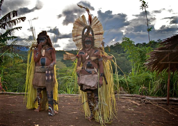 A birthing ritual. Kosua tribe, Papua New Guinea.