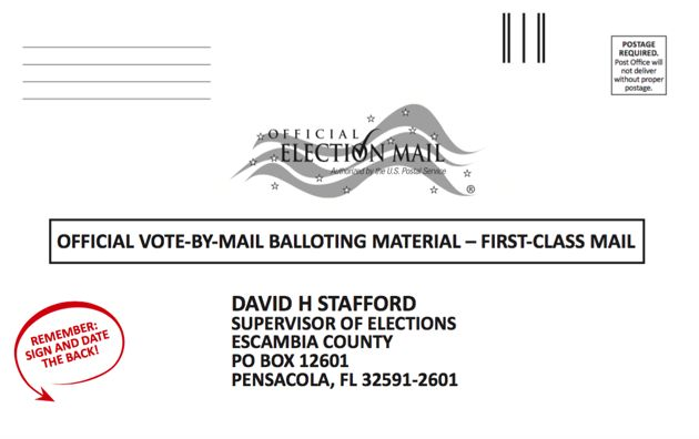 Ballot envelopes in Escambia County, Florida, now feature a reminder for voters.