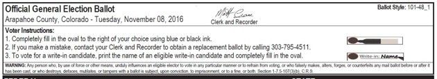 Ballot instructions for voters in Arapahoe County, Colorado