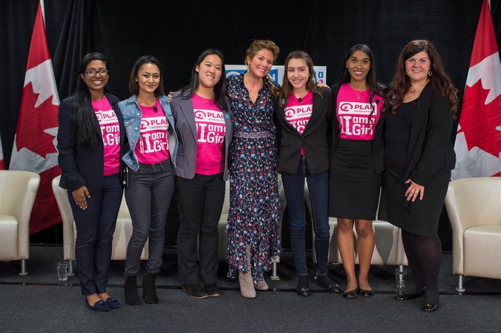"""Sophie Gregoire Trudeau (center) at Plan Canada's""""Girls Belong Here"""" panel-- Tuesday, Oct. 11, 2016."""
