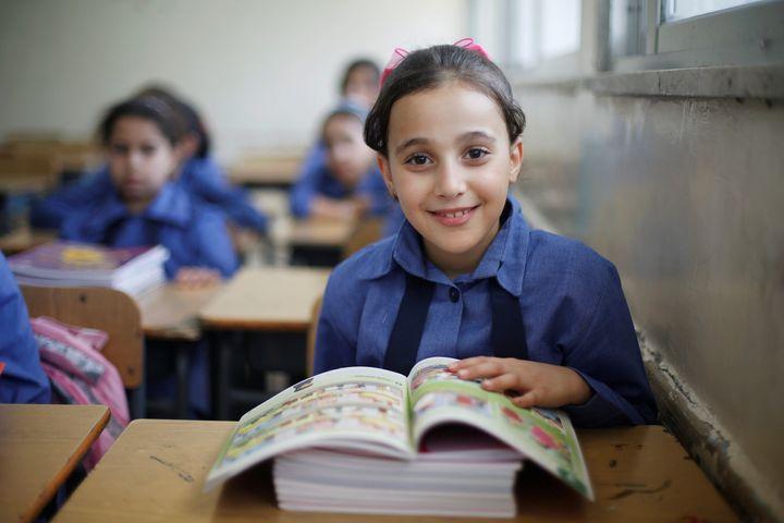 A refugee schoolchild in a Palestinian refugee camp in Jordan on Sept. 1.