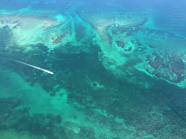 Beautiful Caribbean waters views from our Cozumel flight.