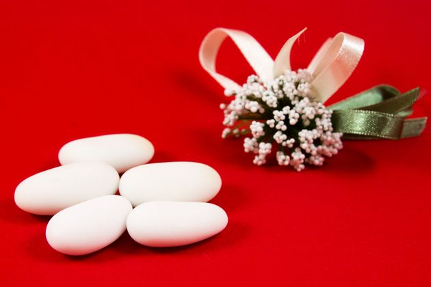 Sugared almonds are a traditional wedding favor in
