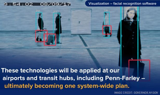 """Pictured: A slide on facial recognition technology from Gov. Andrew Cuomo's """"Reimagining New York's Crossings"""" presentation."""
