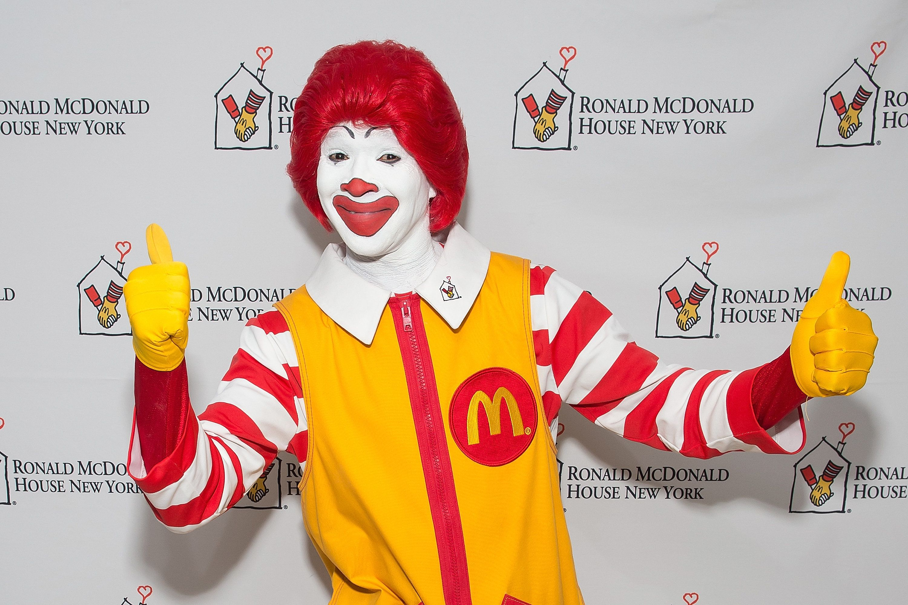 NEW YORK, NY - OCTOBER 30:  An attendee dressed as Ronald McDonald attends the 2014 Masquerade Ball Benefiting Ronald McDonald House at Apella on October 30, 2014 in New York City.  (Photo by Michael Stewart/Getty Images)
