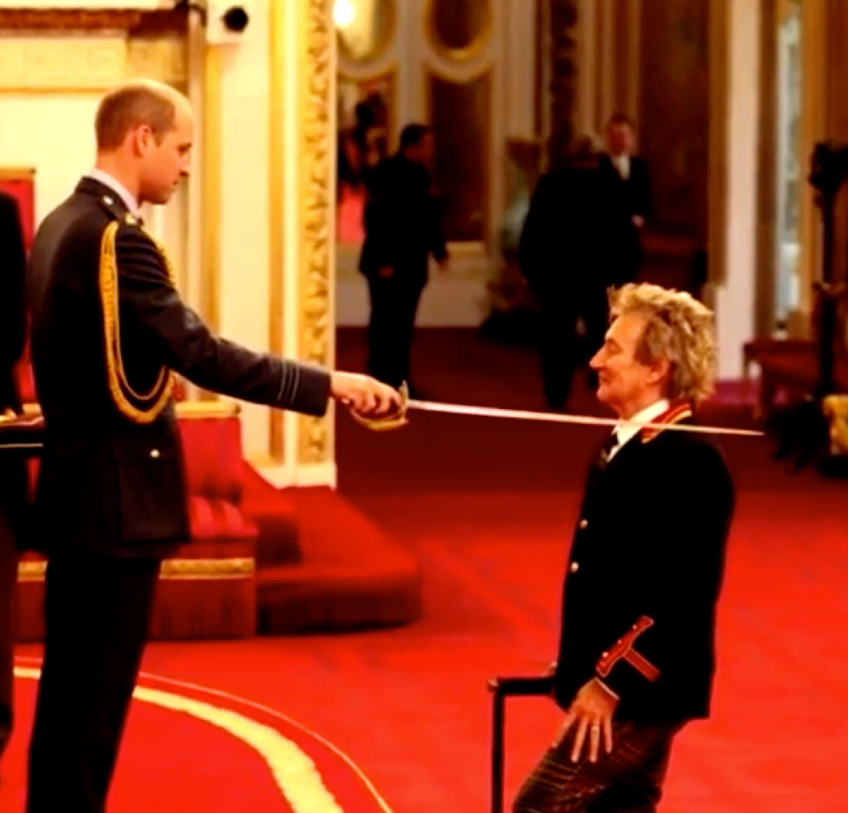 Prince William knights singer Rod Stewart