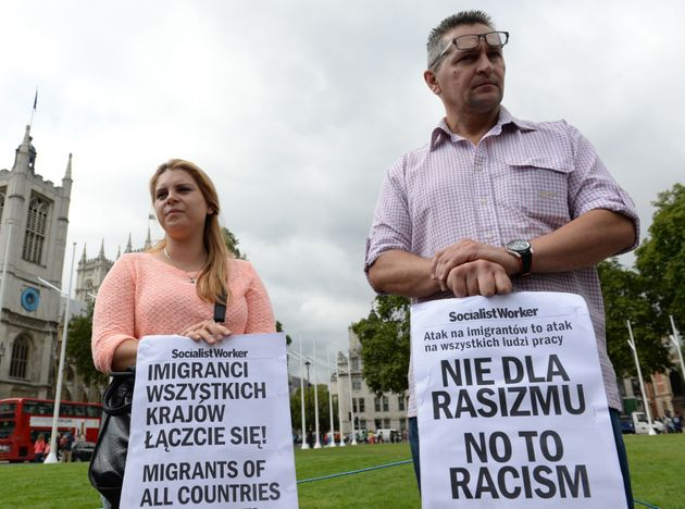 Demonstrators supporting the rights of Polish workers in the