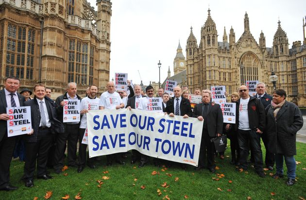 Members of the Unite union and steel workers from the Tata factory in Corby gather in Parliament