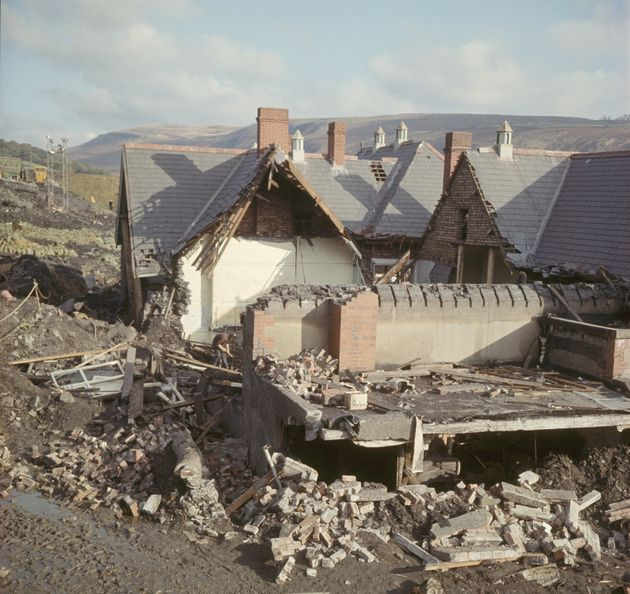 Around 100,000 tonnes of rubble smashed into the school and nearby