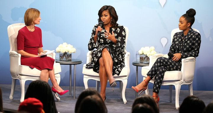 From left to right: Glamour editor-in-chief Cindi Leive, FLOTUS, and actress Yara Shahidi.