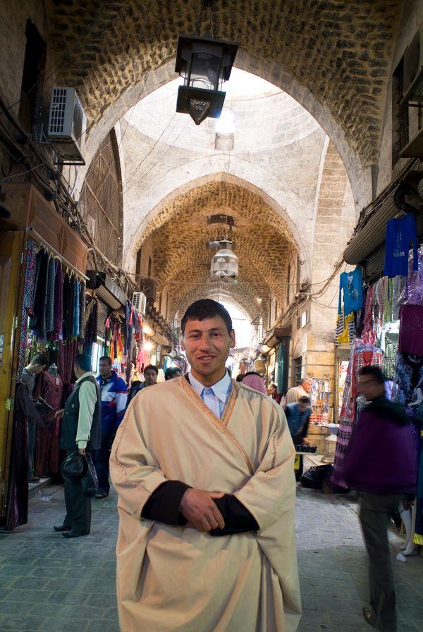 A man inside Aleppo's Al Madina Soukin 2010.