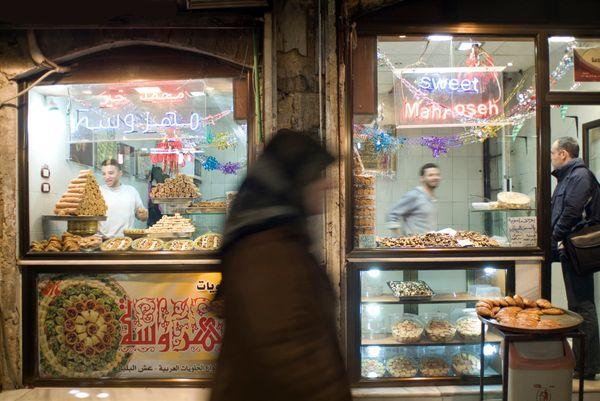 A sweet shop inside Al Madina Souk in Aleppo in 2010.