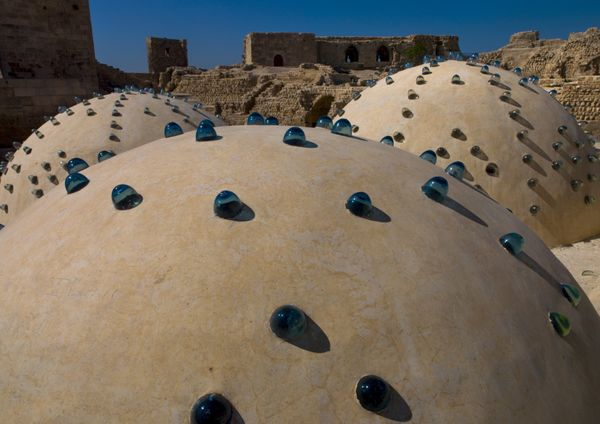Bath domes in Aleppo in 2006. Aleppo was famous for its attractive churches, mosques, schools and baths.