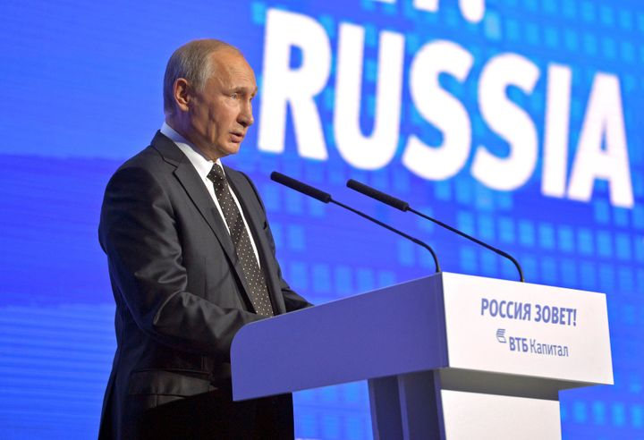 "Russian President Vladimir Putin delivers a speech during the annual VTB Capital ""Russia Calling!"" Investment Forum in Moscow"